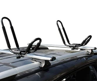 Kayak Roof Rack Attached to Cross Bars on SUV